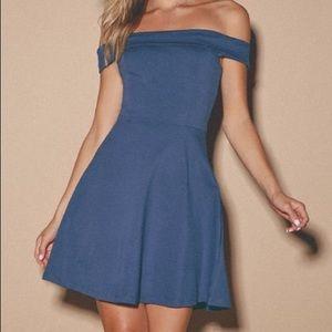 Lulus blue off-the-shoulder skater dress